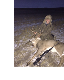 Adam Thomson with his Northern Alberta Whitetail buck shot with a Lilja Barreled 280 AI.