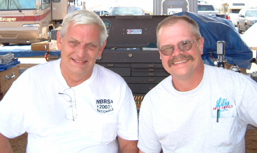 Butch and Dan in between 100 yard Unlimited class matches at the 2003 NBRSA Nationals.