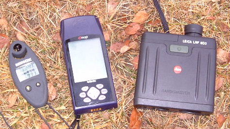 The Minox tool on the left will measure altitude, barometric pressure, temperature, and wind velocity. The other tools are a Garmin GPS unit (also capable of measuring altitude accurately) and a Leica laser rangefinder.