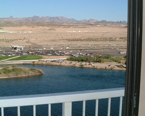 The view from my room at the Riverside resort in Laughlin, Nevada. The airport is directly across the Colorado River.