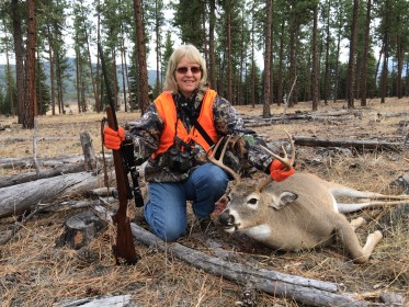 Sally Lilja with her 2015 Whitetail shot with her 7mm-08