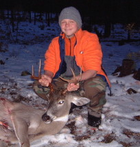 Adam's first whitetail buck shot at the age of 13 during the 2003 Montana season. He shot it through the heart at 150 yards at daylight with a .243 and a 100 grain Remington Core-Lokt bullet.