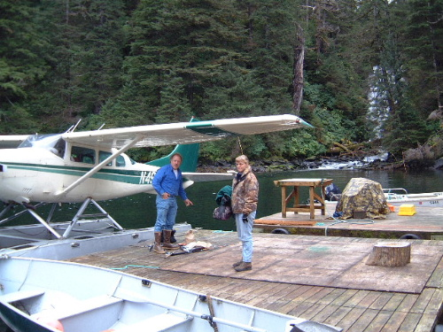 Alan and Sally as we're getting ready to fish for silver salmon. Alan let Dan fly his 206 on floats to Baranof Island.