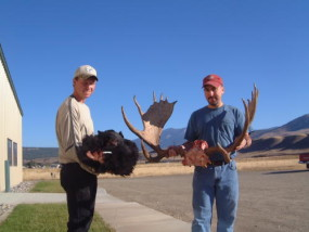 Cory with a nice September Montana black bear and Richard with his brother's very nice Montana moose.