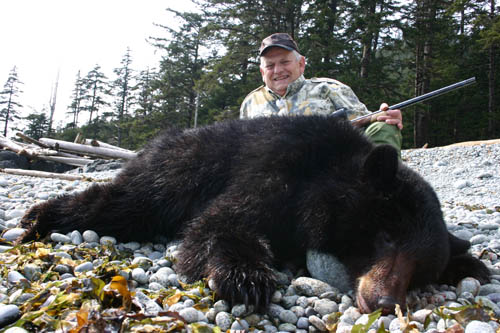 Butch with his sixth day blackie. Butch hammered this guy with his custom self-made 375 H&H Mag. Butch used a BAT action with a Lilja barrel and made the stock himself from an old piece of black walnut that had belonged to his father.