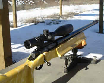 Here is a Fifty BMG built on a McBros single shot action. The muzzle brake is a McBros too and the stock is from McMillan. This rifle has the Night Force 5.5x22x56mm NXS scope.  It is nicknamed Colonel Mustard.