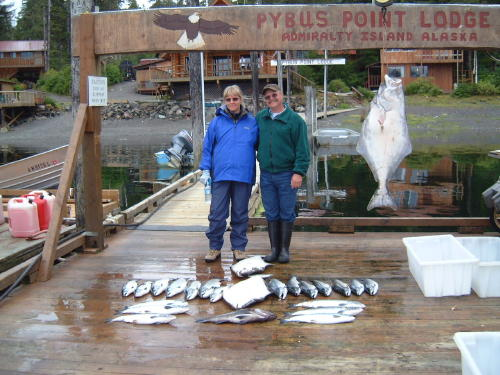 A typical day's catch at Pybus Point; halibut, salmon and rock fish.