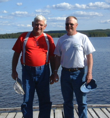 Butch and Dan on the dock at Lloyd Lake Saskatchewan.