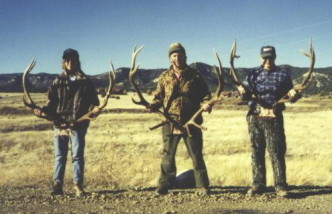 Sally with our friends Jerry Simison and Les Swindler with 3 nice New Mexico 6-point bulls in 1996.