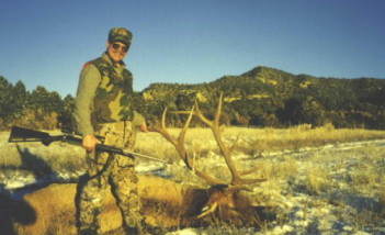 Dan with a 6-point bull he shot in 1998. The rifle is a Lilja barreled Remington 700 chambered for an improved 340 Weatherby case shooting a 250 grain Sierra Game King. Killed at about 350 yards.