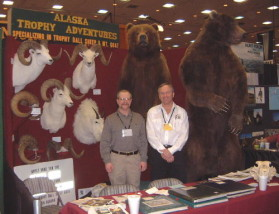 Dan Lilja with Dan Montgomery at the FNAWS Show in Reno in 2001. Dan Montgomery runs Alaska Trophy Adventures (907-373-4898) and is an excellent, hard-working sheep, goat and brown bear guide. Dan Lilja has hunted with him three times and taken all of the above animals with Dan. The goat in the display was shot by Dan Lilja.