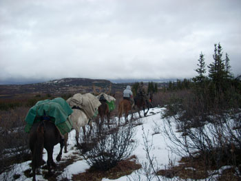 Packing out of the high caribou camp for lower country and moose. This is typical of the weather we had in September.