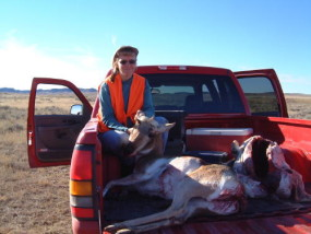Sally with her antelope doe she shot with her trusty 7mm-08 at 250 yards.