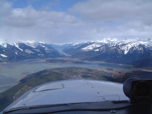 Flying north up the Trench in British Columbia. The Canadian Rockies on the right and the Caribou Mountains on the left.